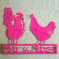 """""""The Duke & Duchess"""" Rooster & Hen Sign (H17)"""