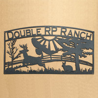 Metal Art Ranch Sign with Eagle, Buck, Rabbit, and Custom Text Field (A25)