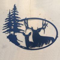 Big Buck with Doe Metal Wall Art (N6)