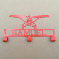 Hat / Coat Rack with Prop Plane and Personalized Text Field 3 Hooks