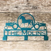 Hat / Coat Rack with Tractors and Horse in a Oval with Personalized Text Field 3 Hooks (K21)