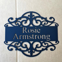 Personalized Sign with Scroll Design