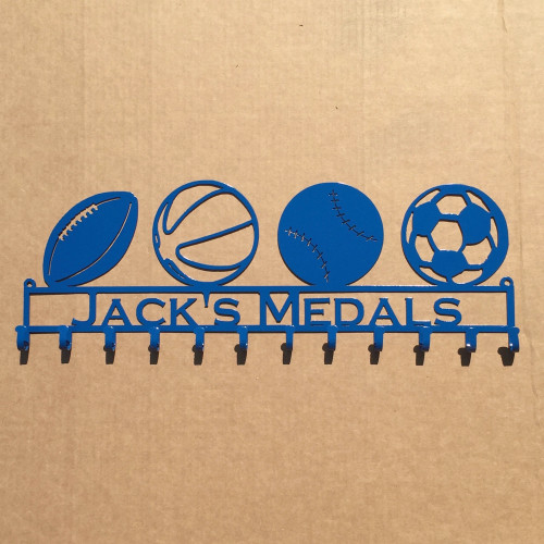 Medal Rack with 4 Sport Ball of your choice with Personalized Text Field (W16)