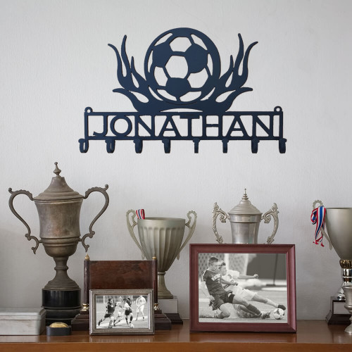 Soccer Lover's Flaming Medal Display Rack (Y27)