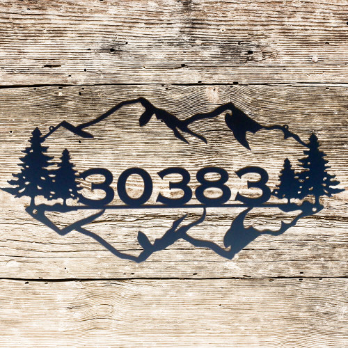 Custom Metal Sign with Mountain and Trees (K1)