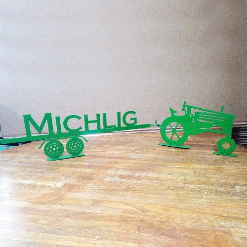 Tractor Old Style with Trailer with Custom Text on Trailer  (A29)