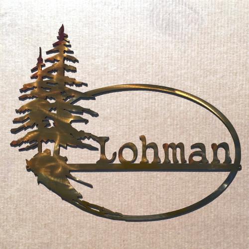 Custom Oval Metal Tree Sign 3 (J8)