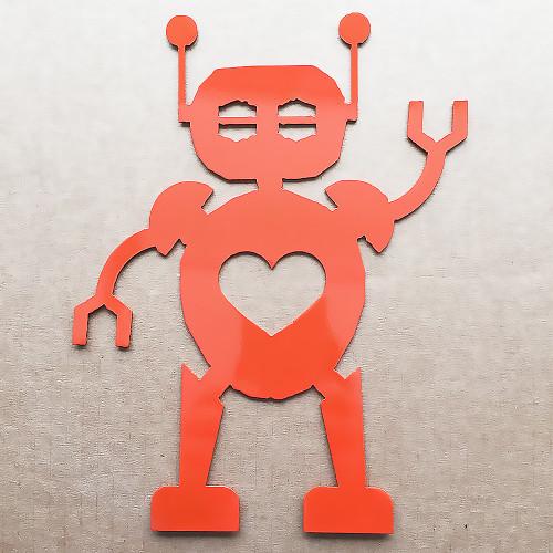 Metal Robot Wall Art With Heart (E2)