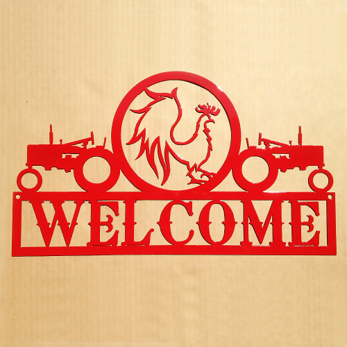 Tractors and Rooster Welcome Sign (C14)