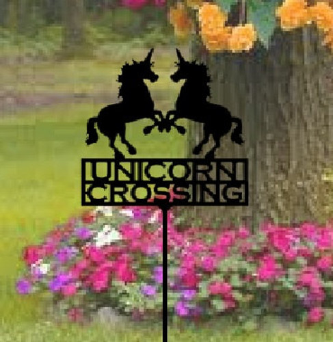 Metal Art Unicorn Crossing Garden Stake (Z1)
