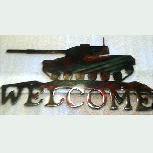 Welcome Metal Tank Sign (I9)