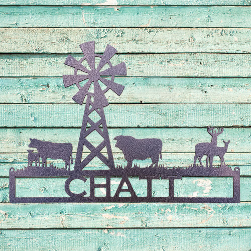 Metal Art Windmill with Cows and Deer Custom Text sign (G12)