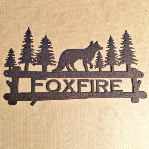 Custom Metal Fox with Trees Sign (X2)