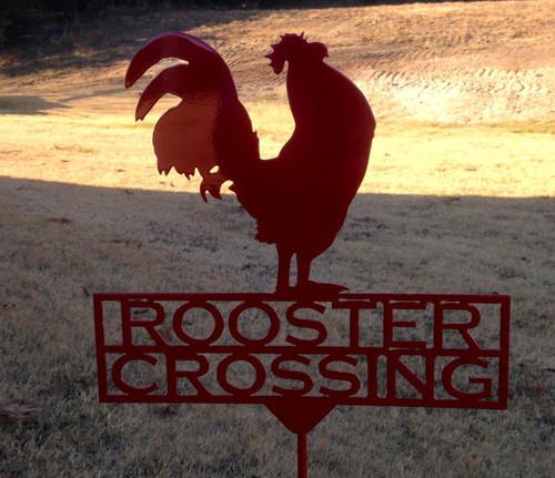 Rooster Crossing Garden Stake (Z5)