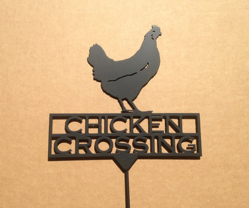 Metal Art Chicken Crossing Garden Stake (Z6)