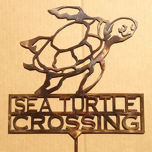 Sea Turtle Crossing Garden Stake (Z7)
