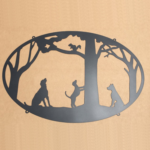 Dogs and Squirrel Metal Sign (H11)