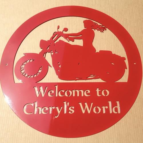 Lady Motorcycle Rider witrh custom text (U8)