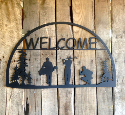 Metal Welcome Sign Golfers (O7)