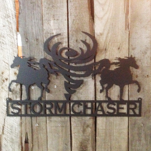 Custom Metal Sign Horses and Tornado (G16)