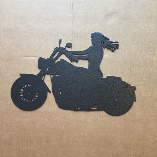 Girl Riding Motorcycle Metal Wall Art (R3)