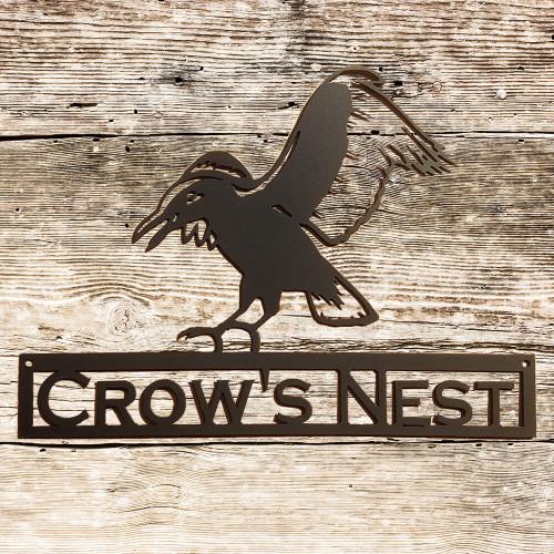 Flying Crow Metal Wall Art with Custom Text Field (Y13)