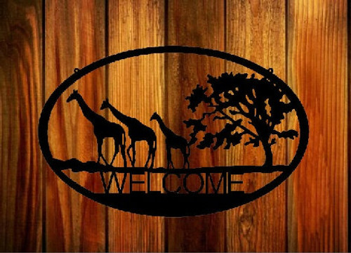 Metal Art Welcome Sign Giraffe (N8)