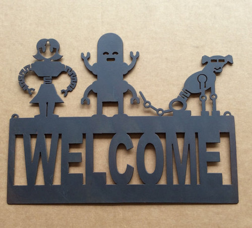 Welcome Sign with Robot Family and Dog (Q8)