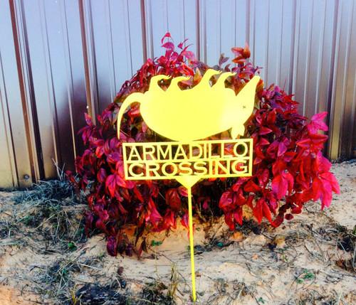 Dead Armadillo Crossing Garden Stake (O10)