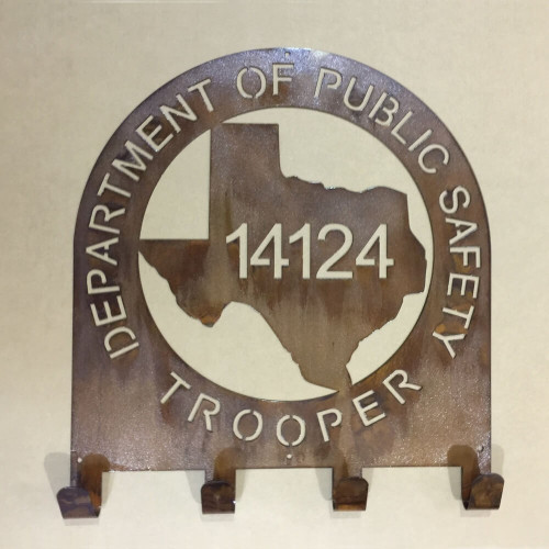 Texas State Trooper Coat & Hat Rack (Q21)