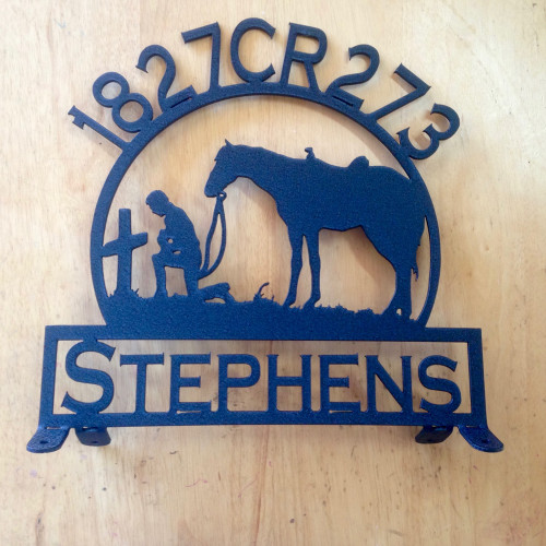 Mail Box Topper with Praying Cowboy and Horse with Personalized Text Box and Text Across the Top (Z29)
