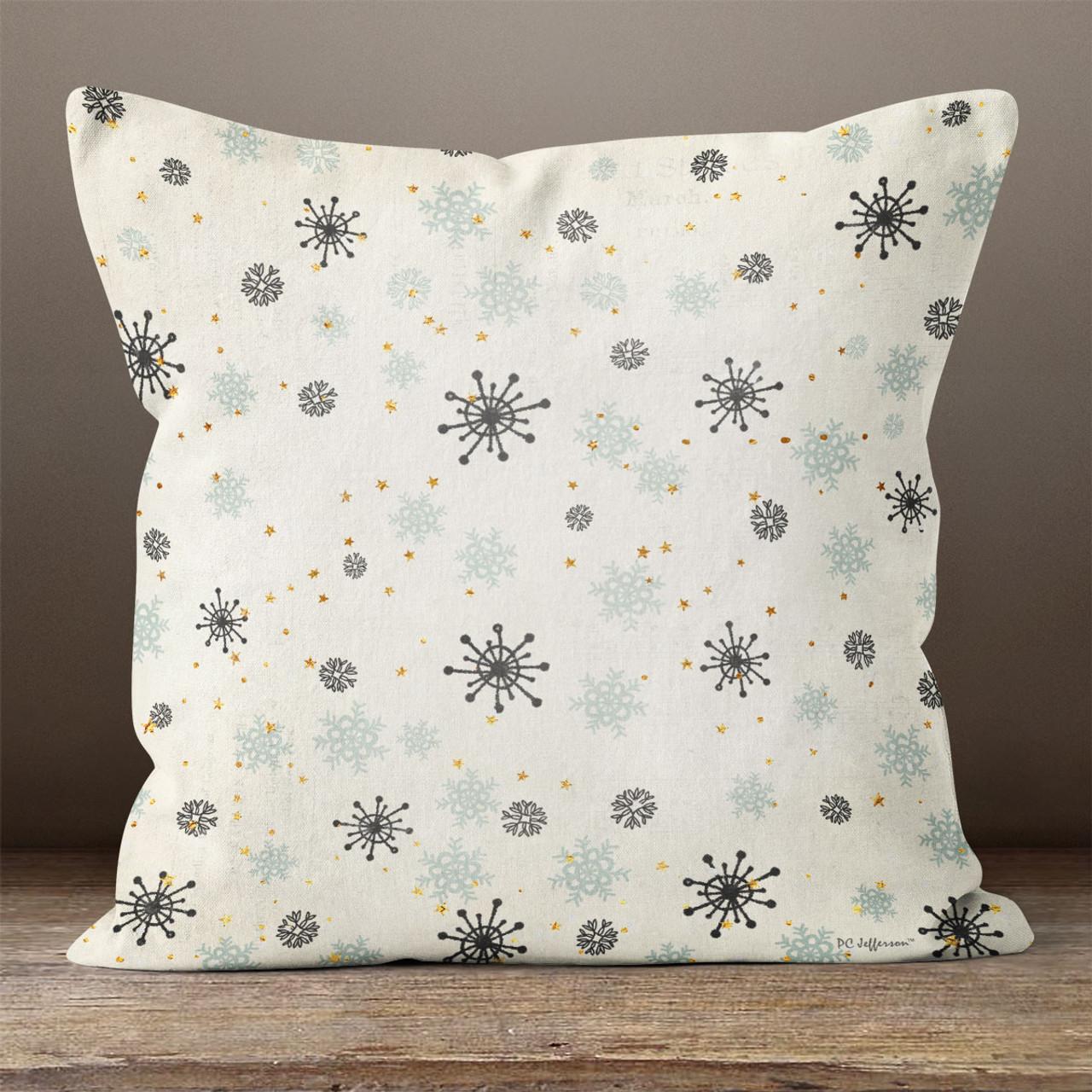White Neckroll Decorative Pillow : White with Snowflakes Throw Pillow - PillowCubes