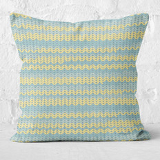 Blue & Yellow Cozy Sweater Throw Pillow