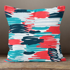 Blue and Red Brush Strokes Throw Pillow