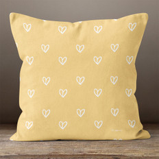 Gold Hearts Throw Pillow