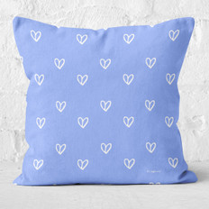 Blue with White Hearts Throw Pillow