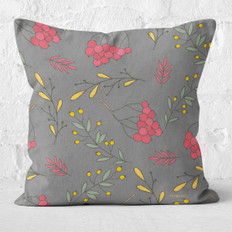 Grey with Fall Berries Throw Pillow