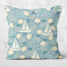 Teal Sailing Throw Pillow