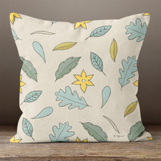 Cream with Teal Autumn Leaves Throw Pillow