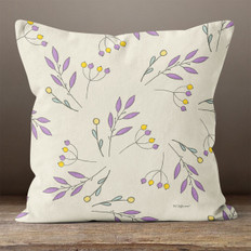 Cream with Purple Sprigs Throw Pillow