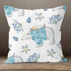 White Floral Polar Bear Throw Pillow