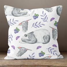 White with Blueberries, Panda & Bird Throw Pillow