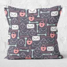 Dark Grey Key To My Heart Throw Pillow