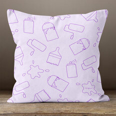 Lavender with Painting Supplies Throw Pillow