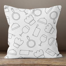 Light Grey with Chef Supplies Throw Pillow