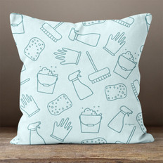 Light Teal with Cleaning Supplies Throw Pillow