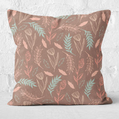 Brown Drifting Flowers Throw Pillow