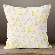 Cream with Gold and Pink Triangles Throw Pillow