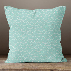 Teal with Scallops Throw Pillow