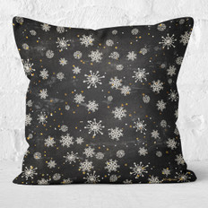 Black with Snowflakes & Stars Throw Pillow
